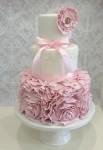 3 Tier Ruffle Christening Cake