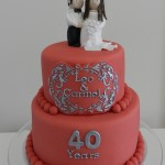 Anniversary Cake  6 inch on 8 inch with Couple figurines