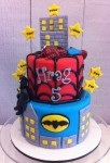 Batman & Spiderman Cake  5 inch on 7 inch with 2 x figurines