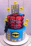 Batman & Spiderman Cake  5 inch on 7 inch with 2 x figurines