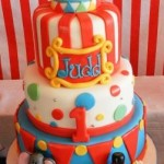 Carnival Theme Cake with 3 Figurines  5 inch on 7 inch on 9 inch