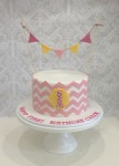 Pink Chevron with Bunting 7 inch