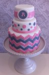 PInk & Grey Chevron  5 inch on 7 inch ( half) on 9 nch