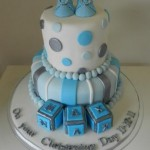 Christening Blue & Silver with Blocks & Booties  5 inch on 7 inch