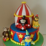 Circus/Carnival Theme Cake with 4  figurines  5 inch on 8 inch