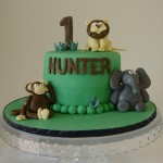 Jungle Theme with 3 Figurines 5 inch cake