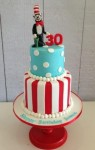 Dr.Suess- Cat in the Hat 4 inch on 6 inch Cake with figurine