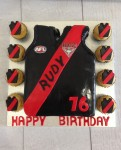 Essendon Football Jumper 8 x 6 inch Cake with 8 p.f cupcakes