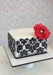 Black Damask Cake 8 inch Square
