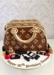 Louis Vitton Bag with make up approx 7 inch Cake