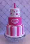 Magenta & Pink Polka dots & Stripes Cake  4 inch on 6 inch on 8 inch