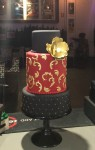 Moroccan Red, Black & Gold Cake