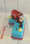 Number 7 Fire Truck Cake