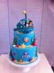 Octonauts Cake with Gup A & figurines 6 inch on 8 inch with Gup A top tier