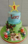 Peppa PIg & Family Picnic  Cake  5 inch on 7 inch with 4 Figurines