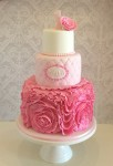 Pink Rosette Ruffle Cake