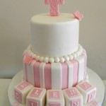 Pink & White Stripe with blocks 6 inch on 8 inch