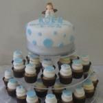 Blue Polka dot  6 inch cake .PF Cupcakes