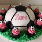 Soccer Ball Cake with Cupcakes Approx 8 inch cake with 1 dozen Petit Four Cupcakes