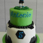 Soccer themed cake with figurine 6 inch on 8 inch