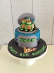 TMNT Cake with Turtle Figurines
