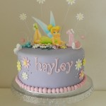 Tinkerbelle Purple & Pink with edible image 8  inch