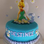Tinkerbelle Teal & Purple with edible image  8 inch
