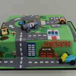 Traffic Mat Cake with 3D automotives 11 inch Cake