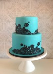 Turquoise Cake with Edible Lace
