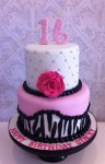 Zebra & Hot pink with Ruffle Rose Cake  5 inch on 7 inch
