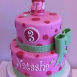 Pink & Lime Princess Cake with figurine 6 inch on 8 inch