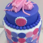 Ballet Shoe Cake- double Barrel Cake  5 inch half cake on 7 inch double barrel