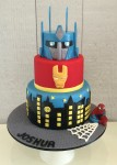 Transformers, Ironman & Spiderman Cake